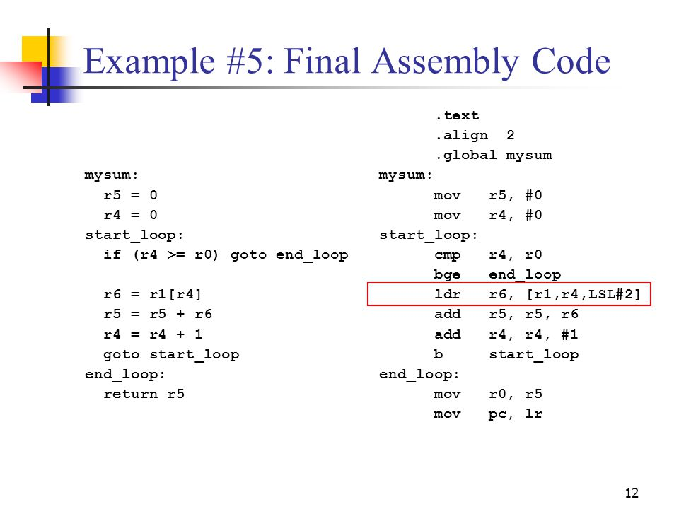 Example #5: Final Assembly Code