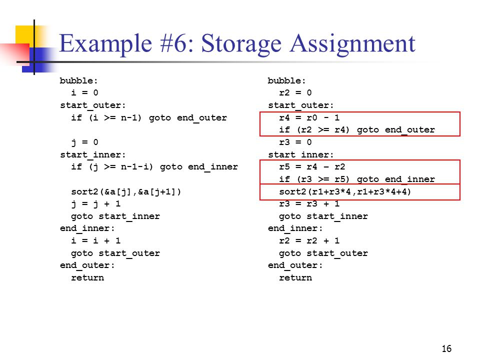 Example #6: Storage Assignment