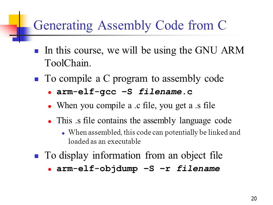 Generating Assembly Code from C