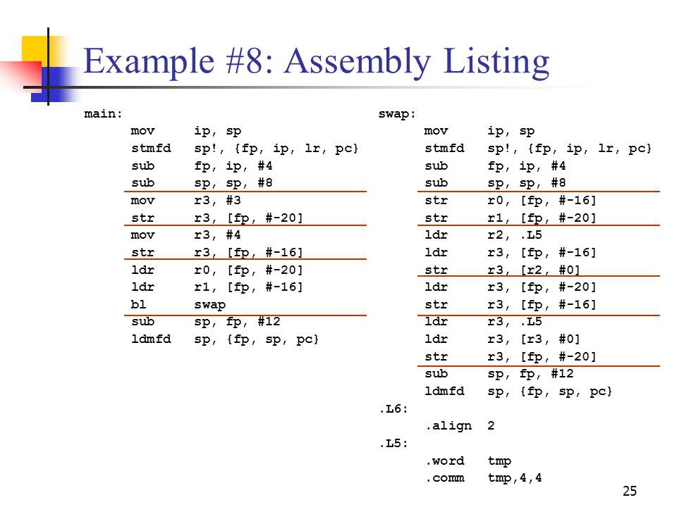 Example #8: Assembly Listing
