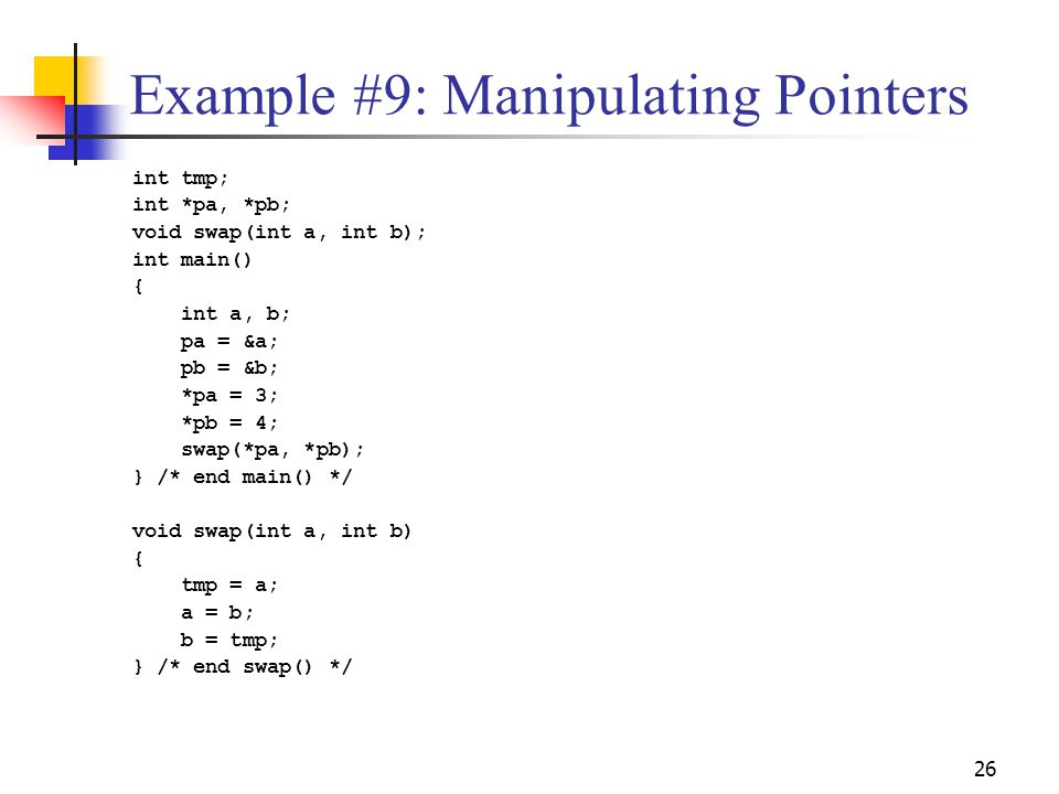 Example #9: Manipulating Pointers