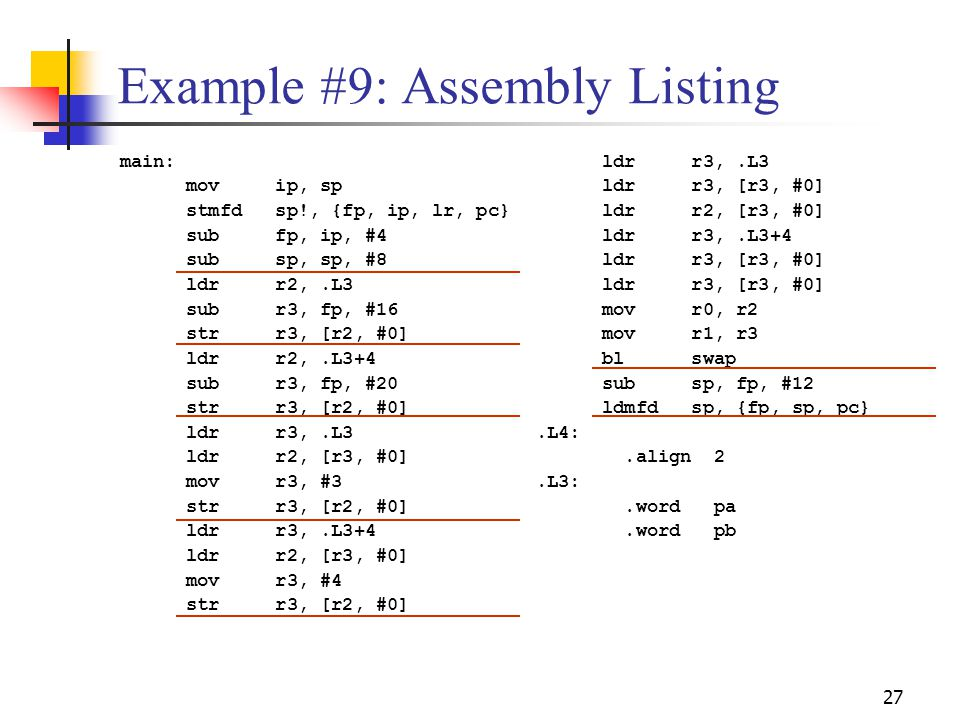 Example #9: Assembly Listing