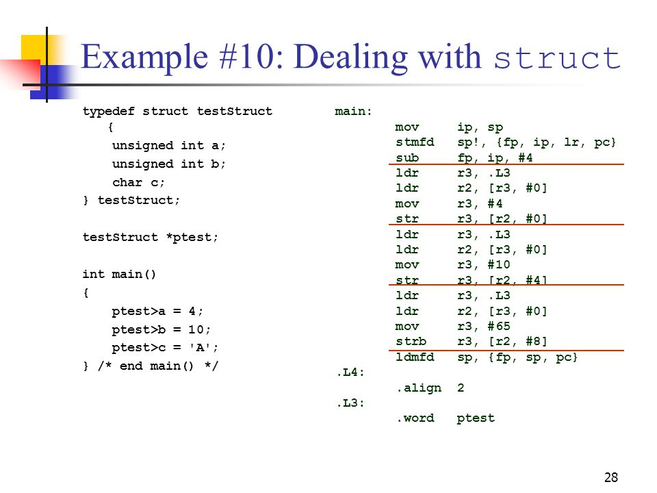 Example #10: Dealing with struct
