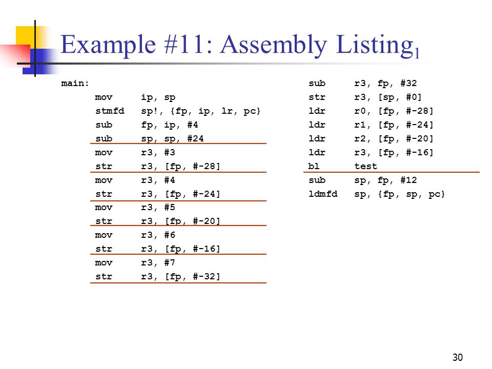 Example #11: Assembly Listing1