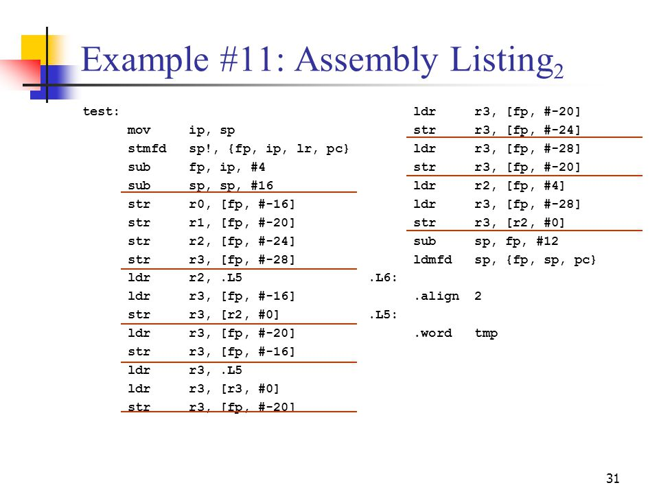 Example #11: Assembly Listing2