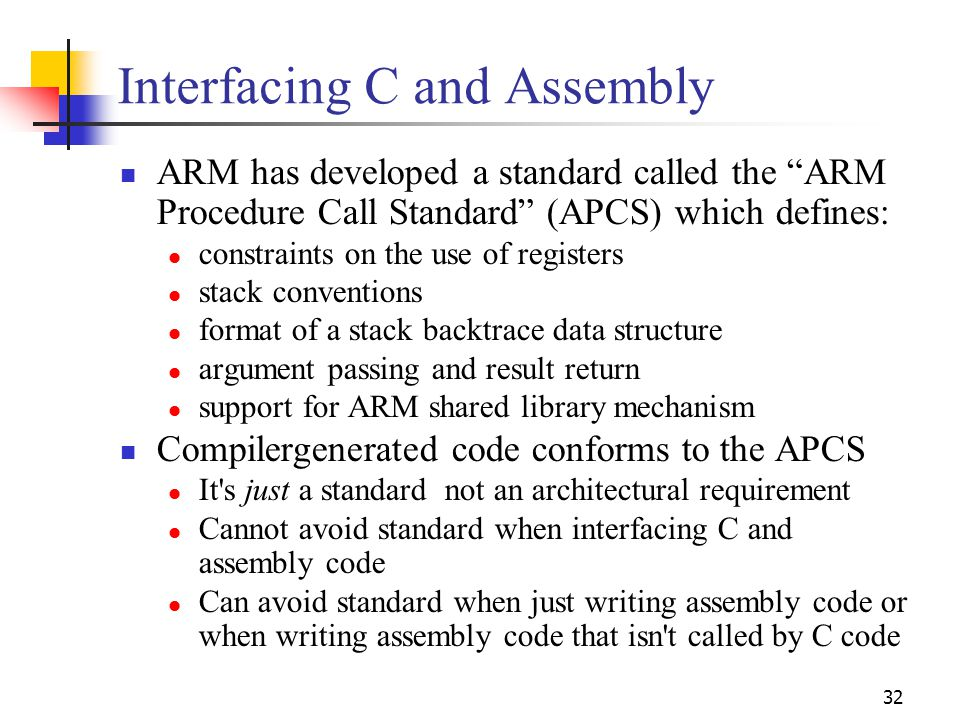 Interfacing C and Assembly