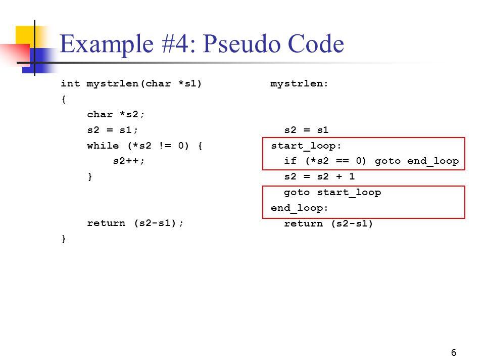 Example #4: Pseudo Code int mystrlen(char *s1) { char *s2; s2 = s1;