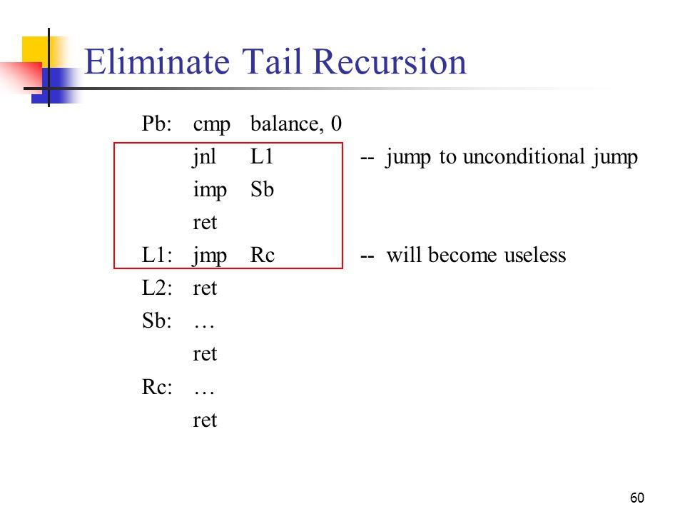 Eliminate Tail Recursion