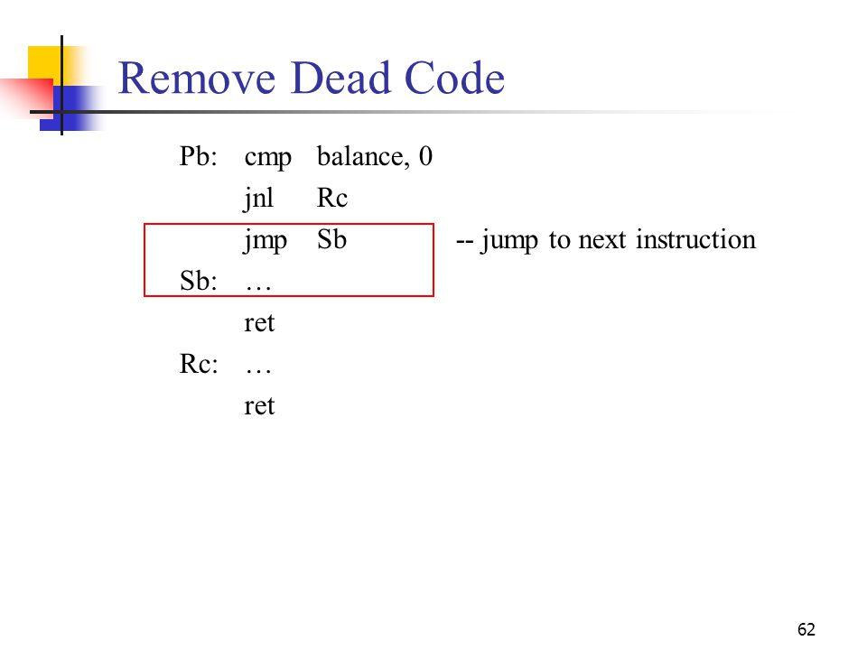 Remove Dead Code Pb: cmp balance, 0 jnl Rc