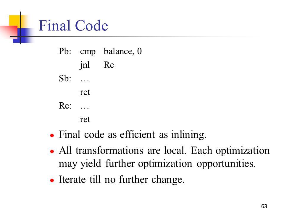 Final Code Final code as efficient as inlining.