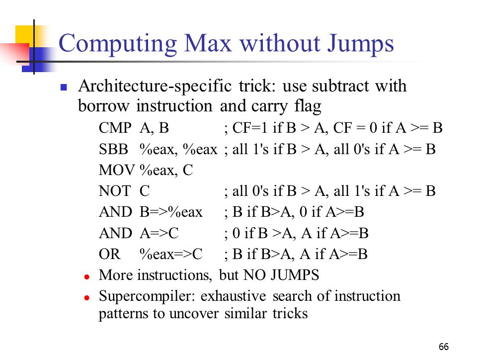 Computing Max without Jumps