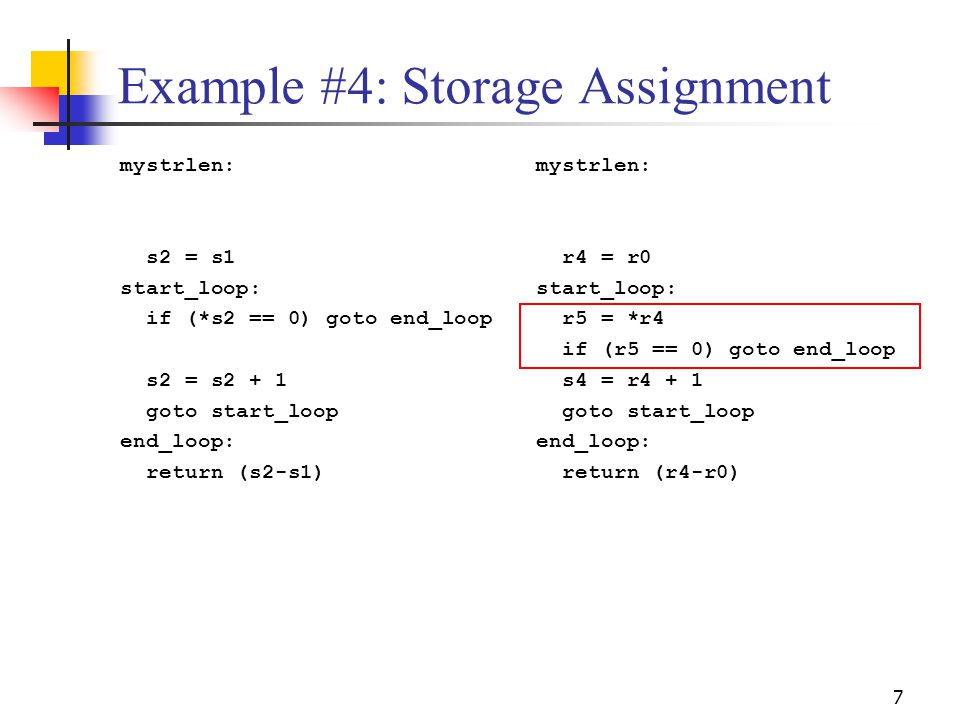 Example #4: Storage Assignment