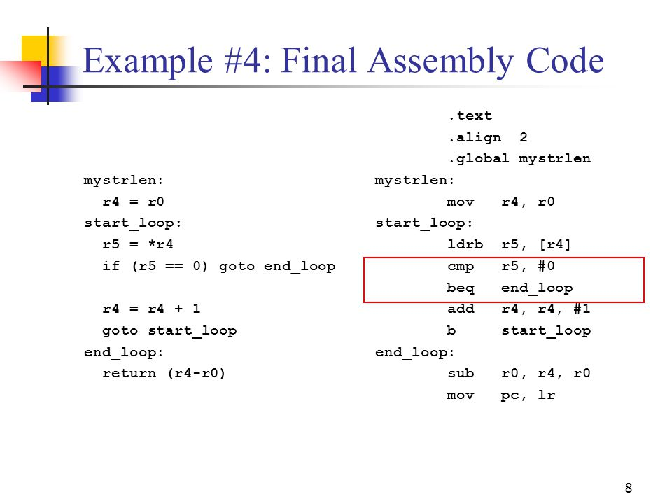 Example #4: Final Assembly Code