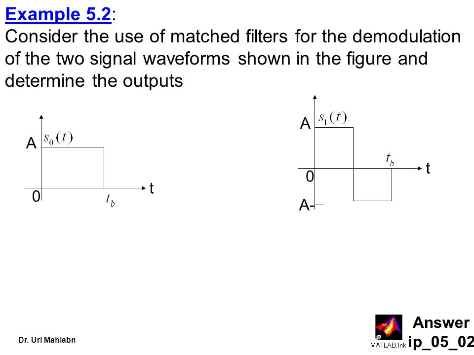 Example 5.2: Consider the use of matched filters for the demodulation of the two signal waveforms shown in the figure and determine the outputs.