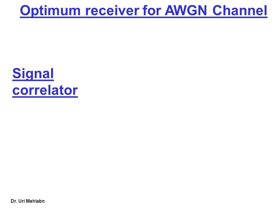 Optimum receiver for AWGN Channel