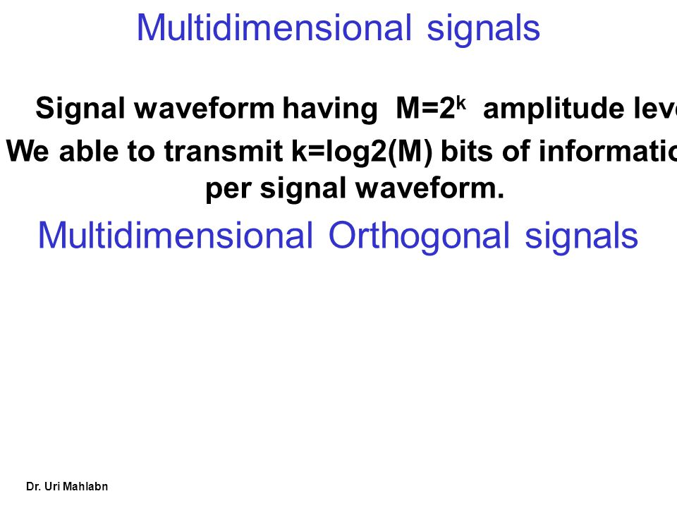 We able to transmit k=log2(M) bits of information