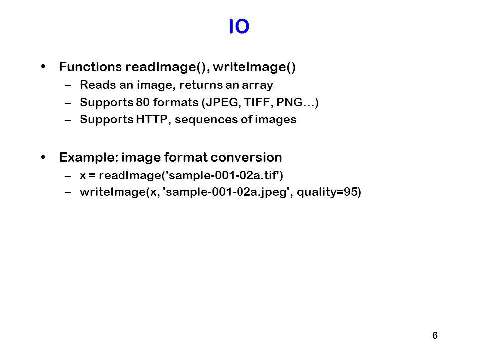 IO Functions readImage(), writeImage()