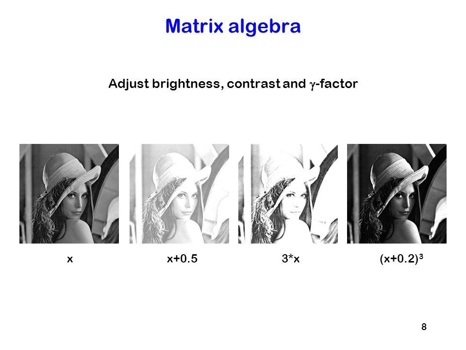 Adjust brightness, contrast and g-factor