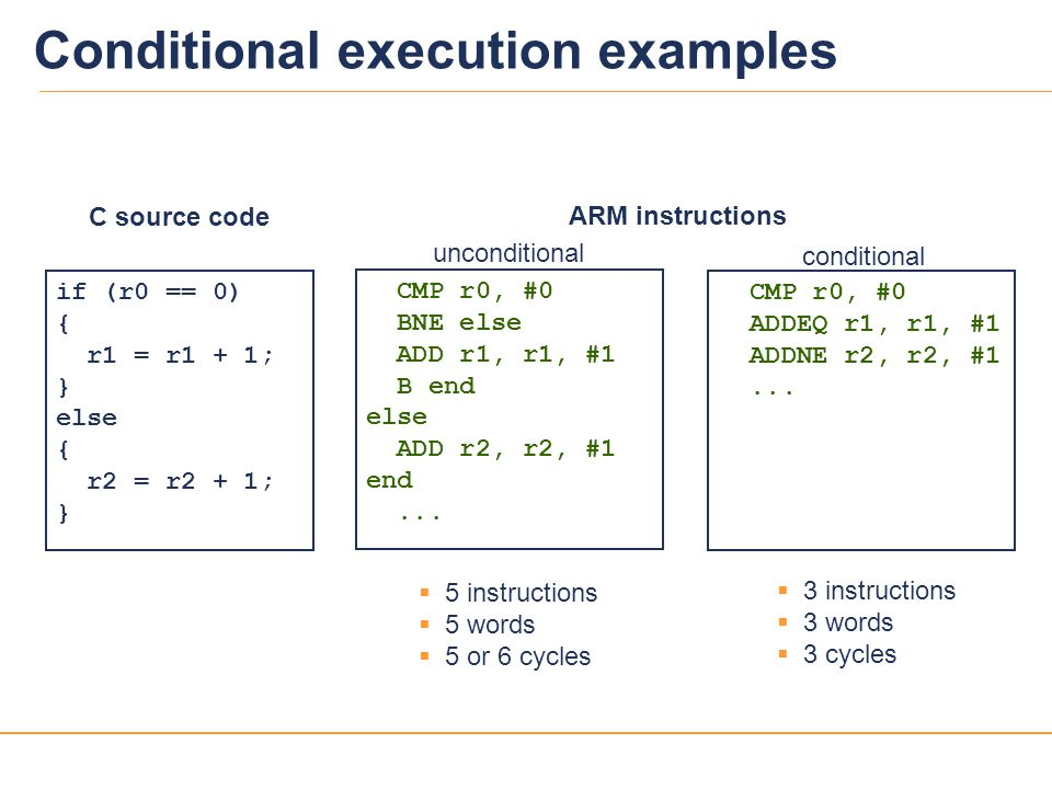 Conditional execution examples