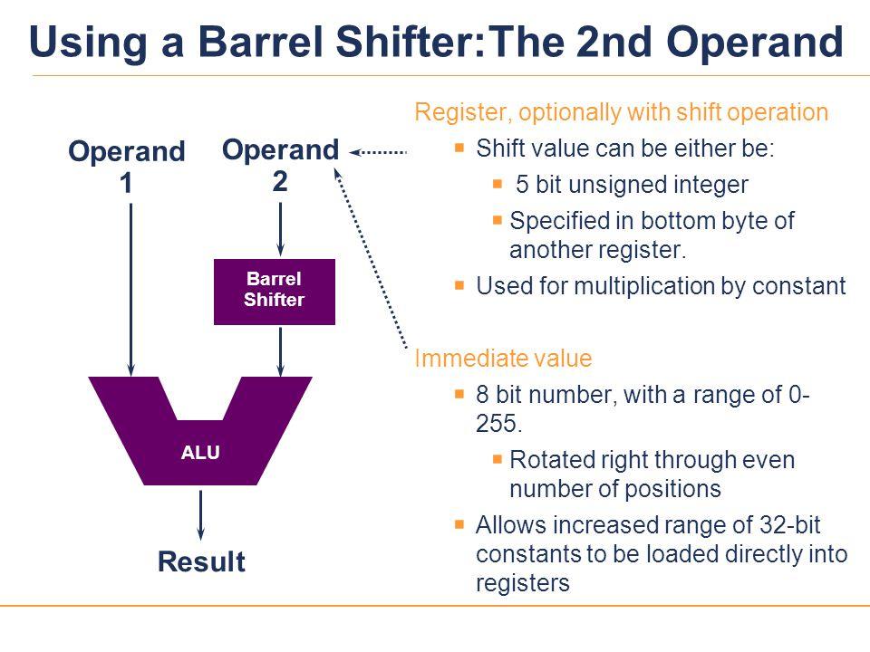 Using a Barrel Shifter:The 2nd Operand