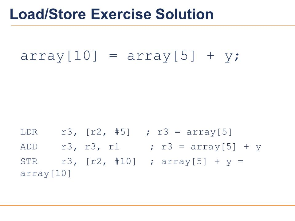 Load/Store Exercise Solution