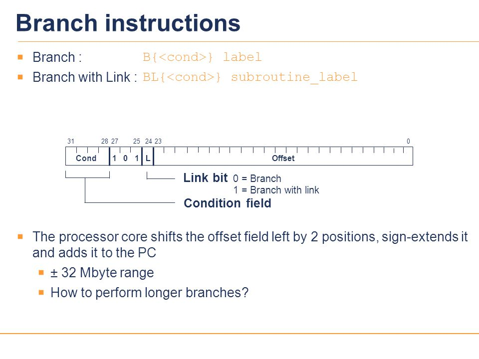 Branch instructions Branch : B{<cond>} label
