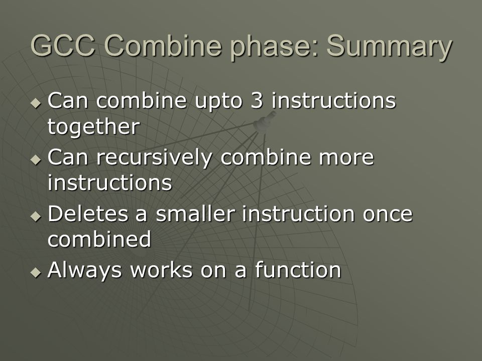 GCC Combine phase: Summary