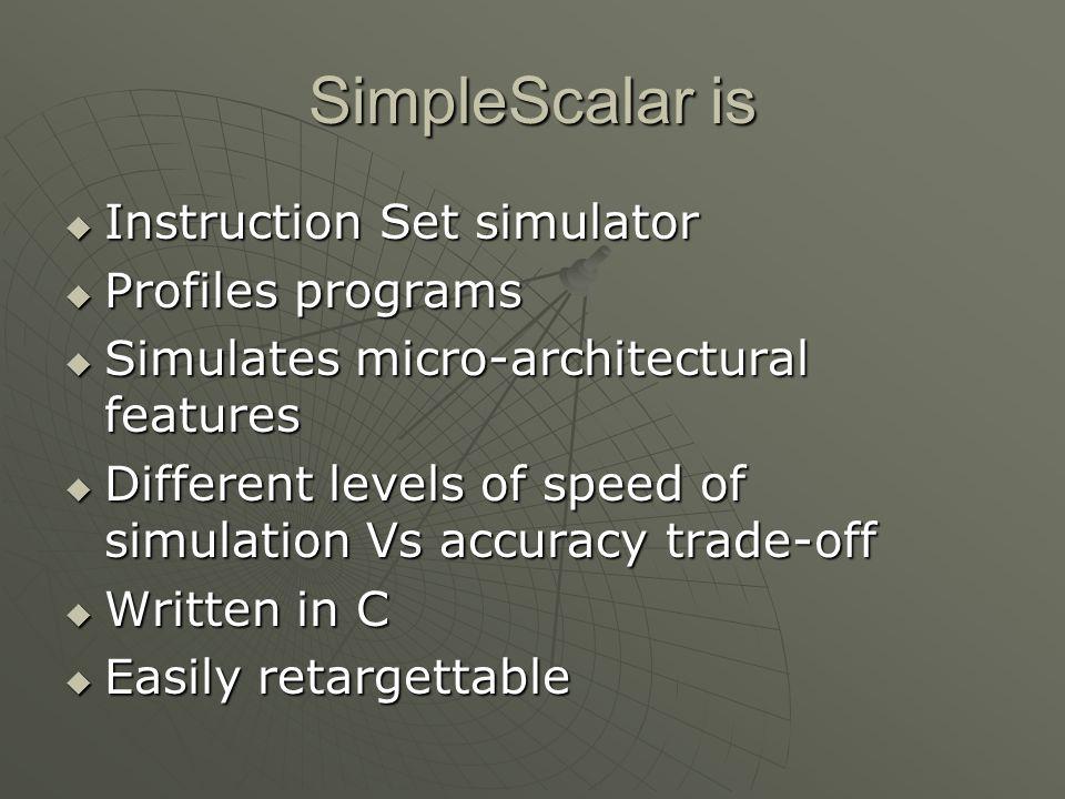 SimpleScalar is Instruction Set simulator Profiles programs