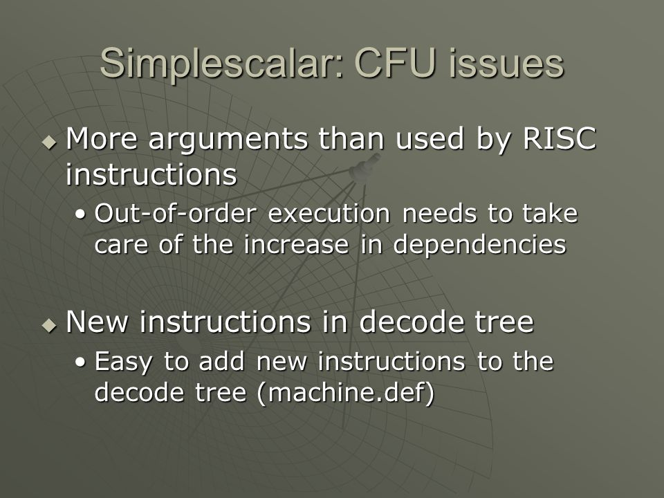 Simplescalar: CFU issues
