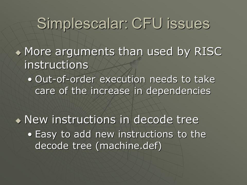 Simplescalar: CFU issues