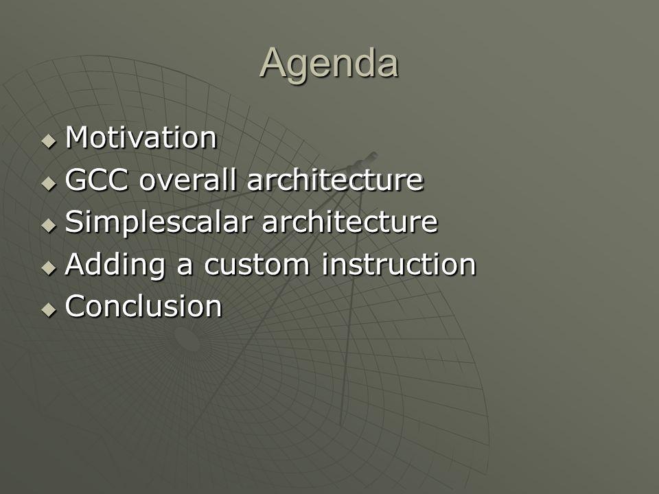 Agenda Motivation GCC overall architecture Simplescalar architecture