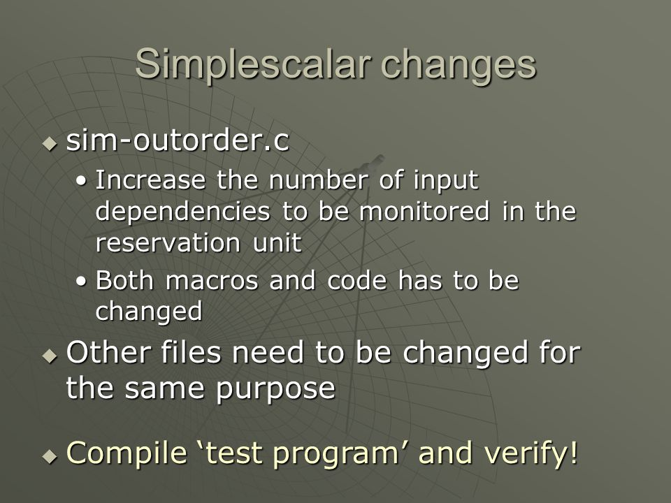 Simplescalar changes sim-outorder.c