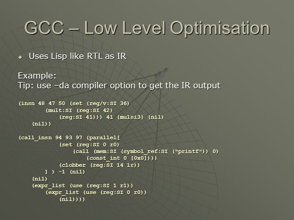 GCC – Low Level Optimisation