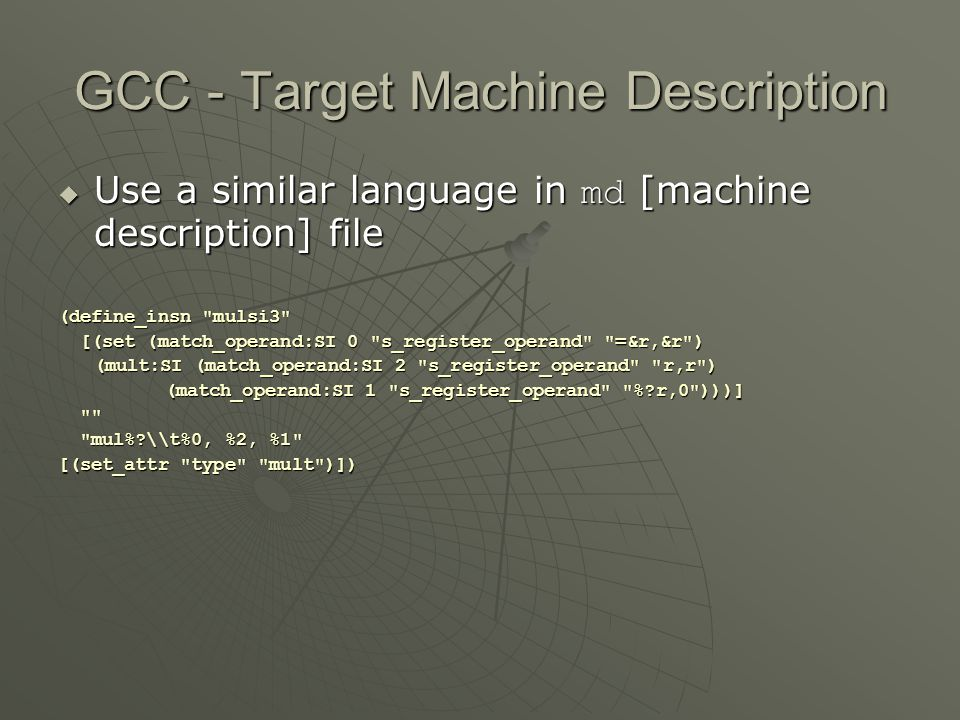 GCC - Target Machine Description
