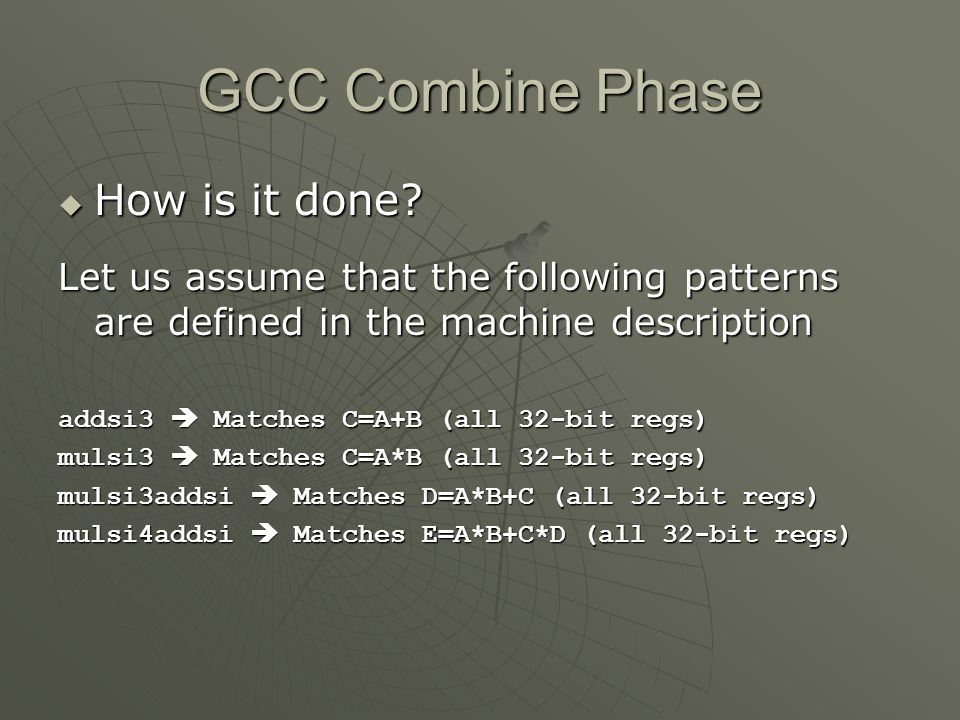 GCC Combine Phase How is it done