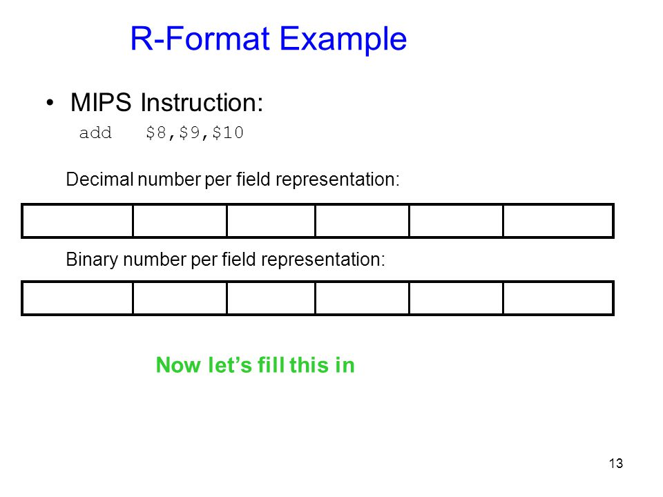 R-Format Example MIPS Instruction: Now let's fill this in