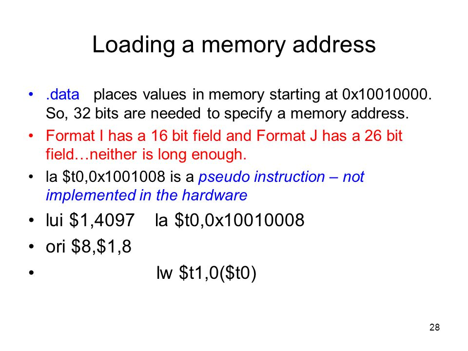 Loading a memory address