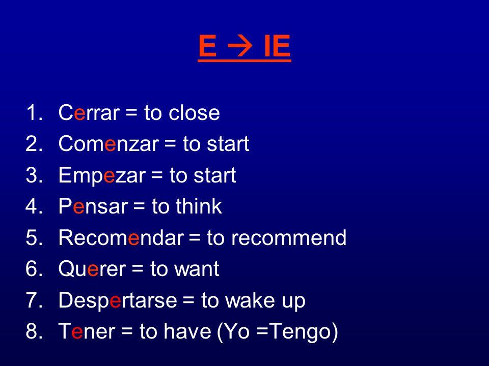 E  IE Cerrar = to close Comenzar = to start Empezar = to start