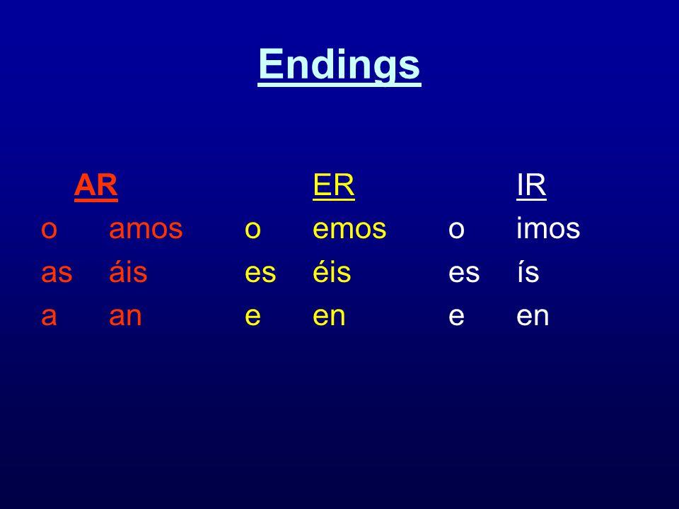Endings AR ER IR o amos o emos o imos as áis es éis es ís