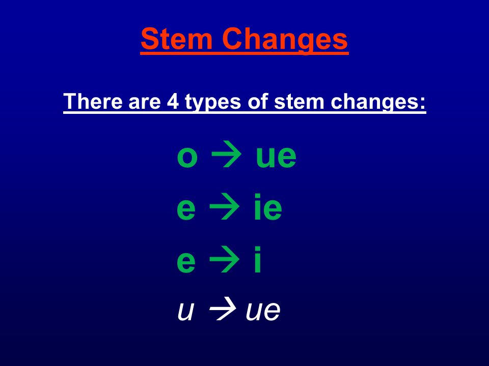 There are 4 types of stem changes: