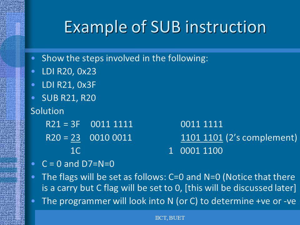 Example of SUB instruction