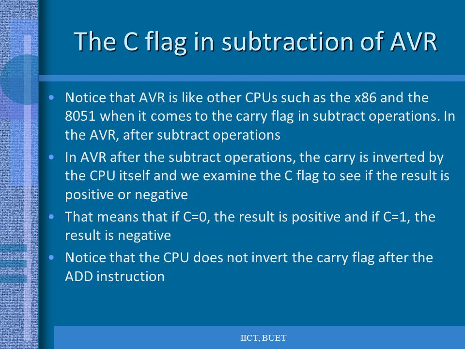 The C flag in subtraction of AVR