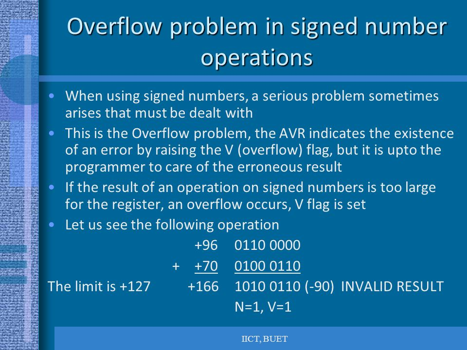Overflow problem in signed number operations