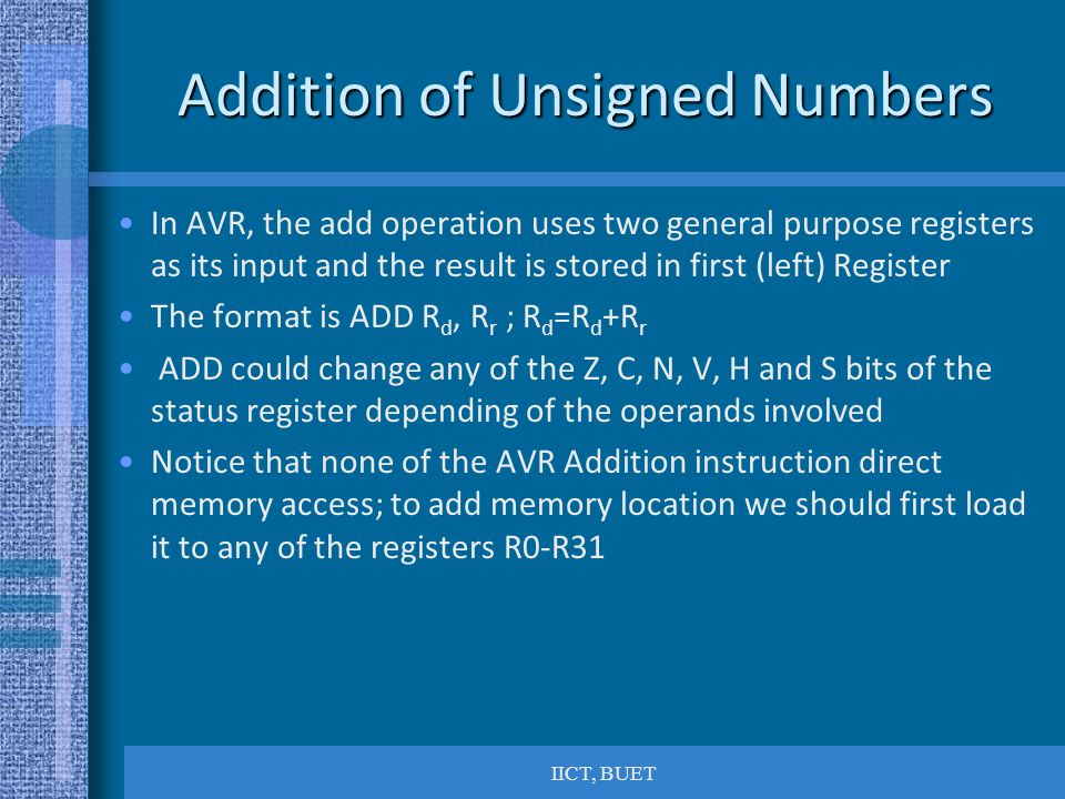 Addition of Unsigned Numbers