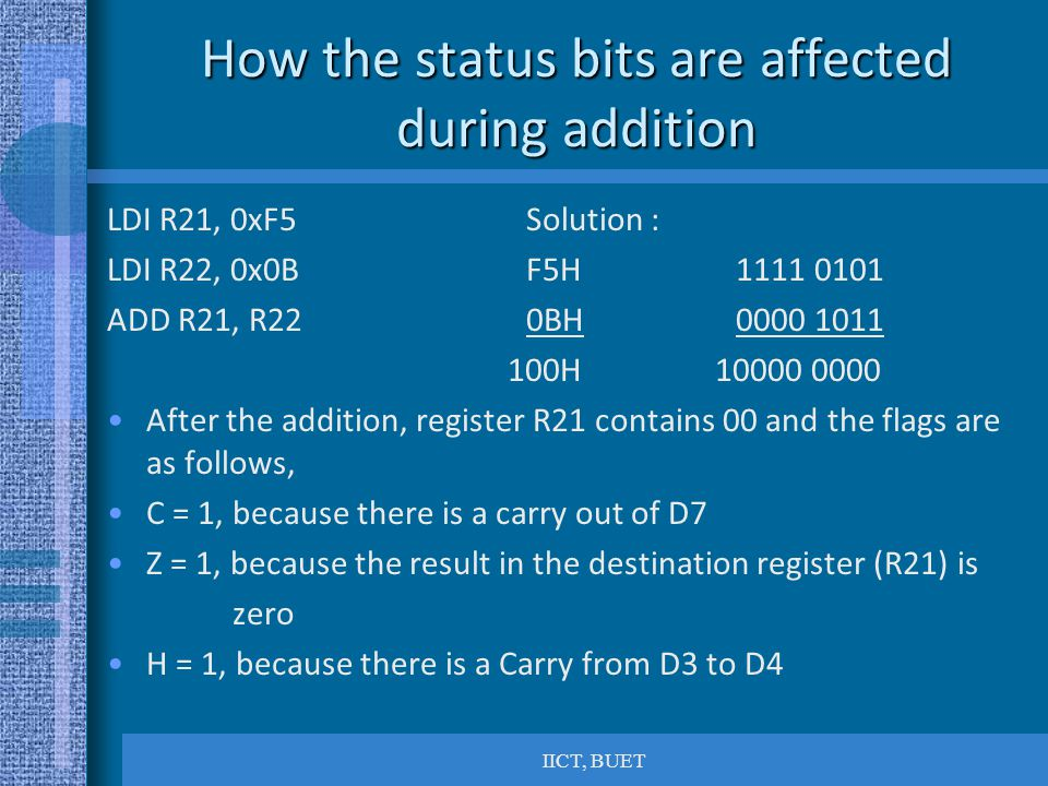 How the status bits are affected during addition