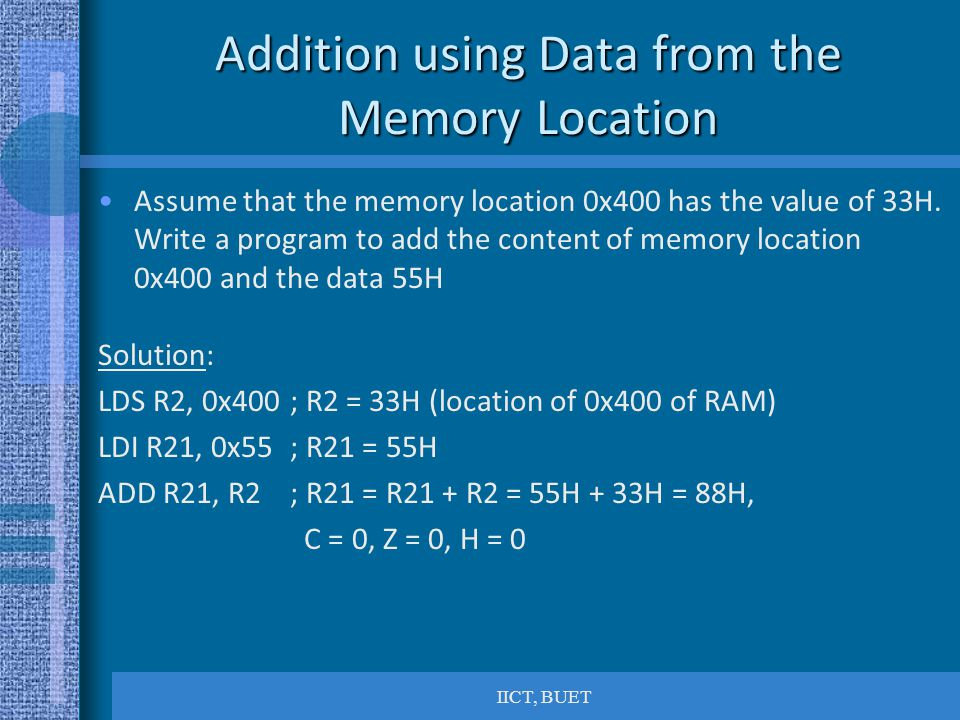 Addition using Data from the Memory Location