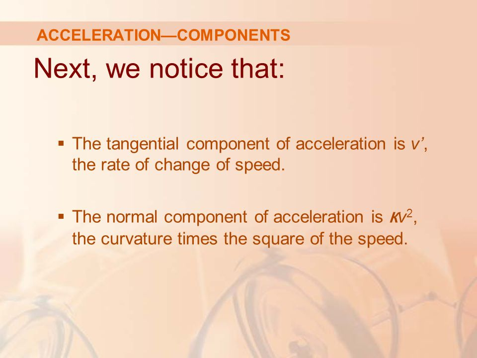 ACCELERATION—COMPONENTS