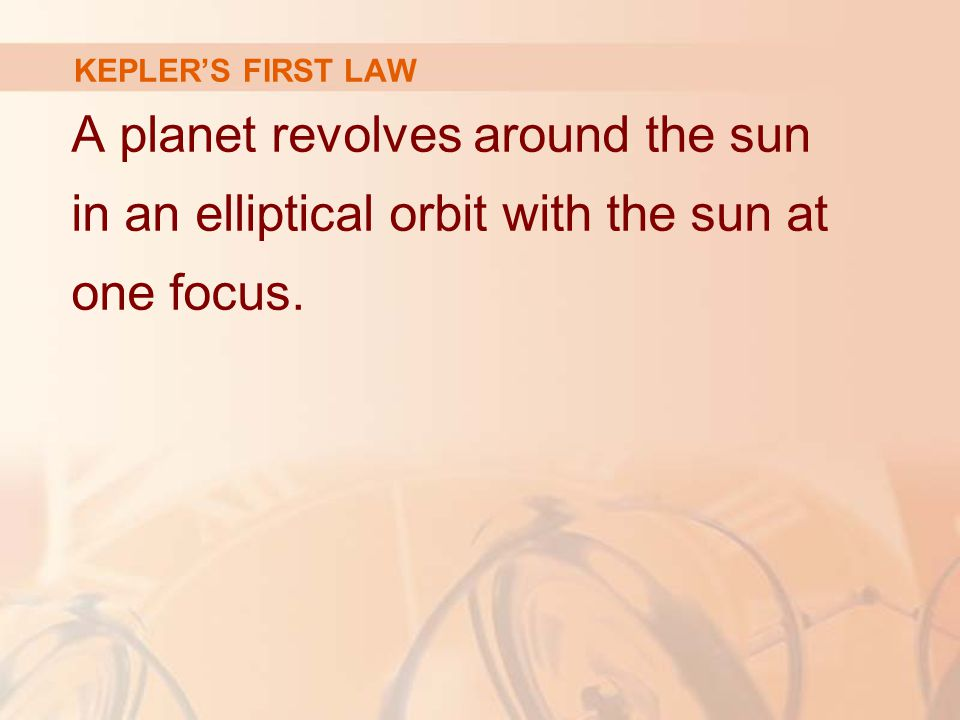 KEPLER'S FIRST LAW A planet revolves around the sun in an elliptical orbit with the sun at one focus.