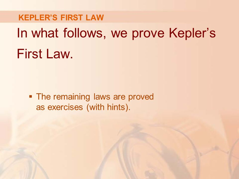 In what follows, we prove Kepler's First Law.