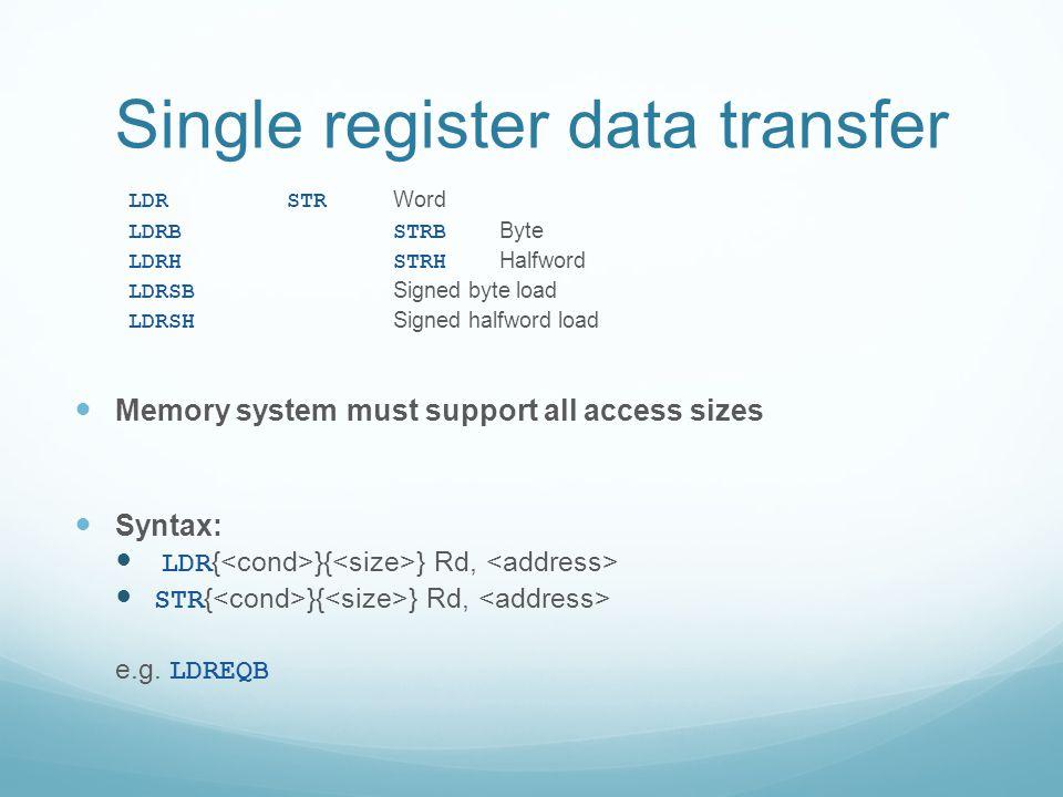 Single register data transfer